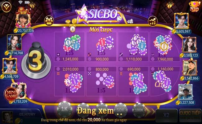 Hình thức đặt cược đơn giản trong game Sicbo Twin